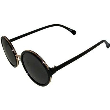Plastic Round Sunglasses with Metal Rims, in Black with Gold Finish. I'm really into round sunglasses