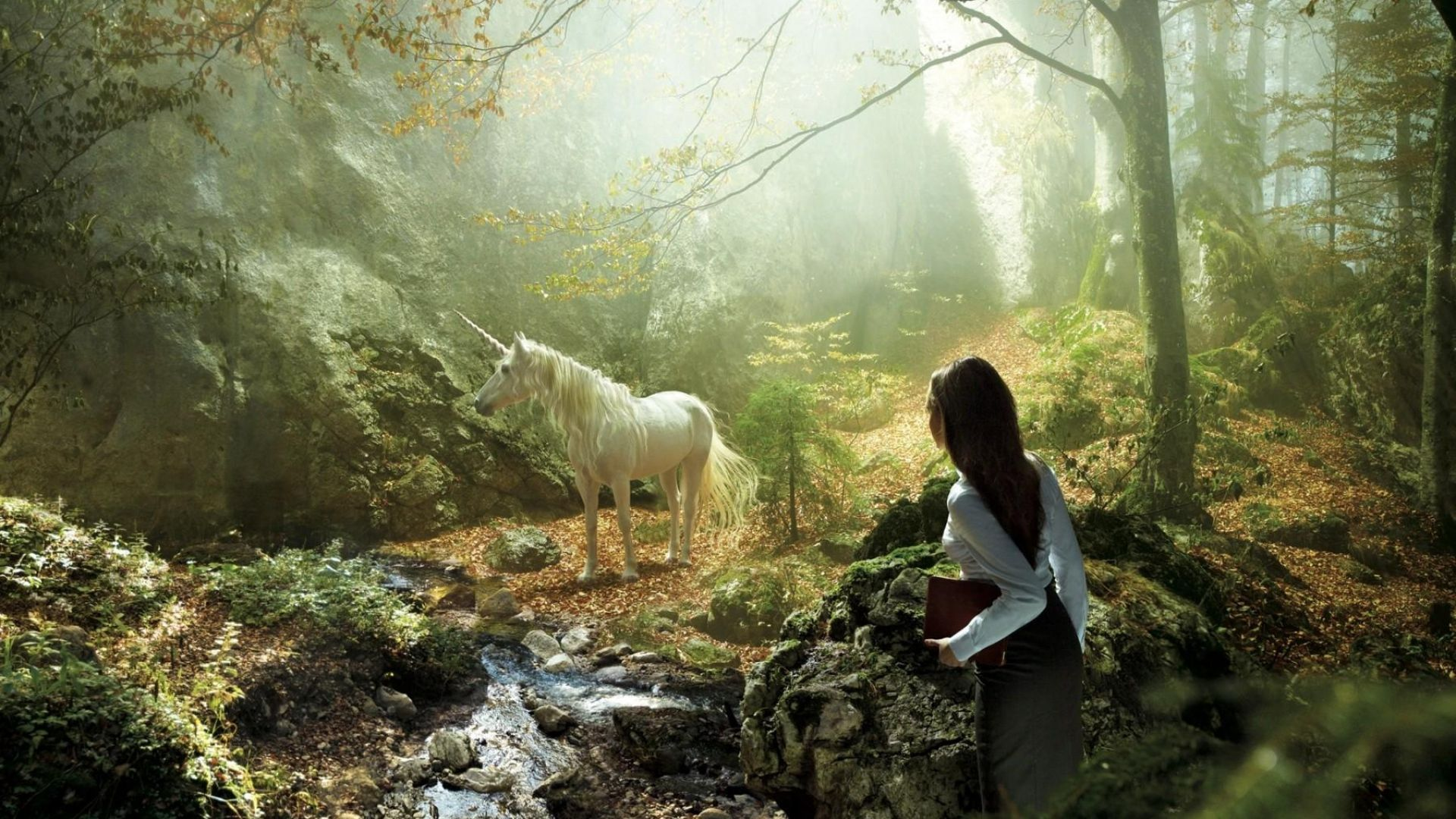 Unicorn pictures 40 high quality unicorn wallpapers full hd unicorn - Download Wallpaper 1920x1080 Unicorn Girl Forest Nature Full Hd 1080p Hd Background