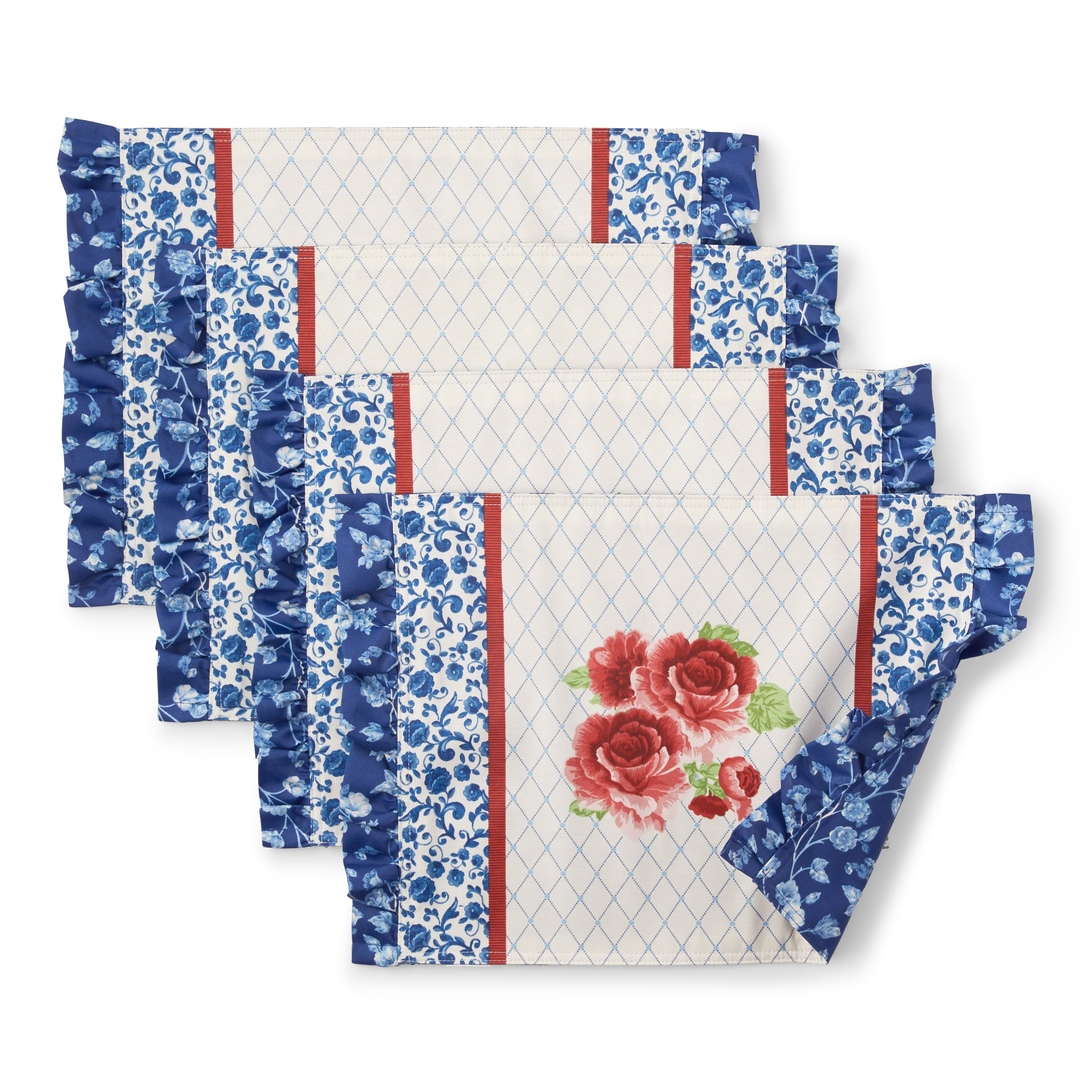 The Pioneer Woman Frontier Rose Ruffle Trim Placemats Set Of 4 Walmart Com In 2021 Floral Placemats Pioneer Woman Walmart Pioneer Woman Kitchen
