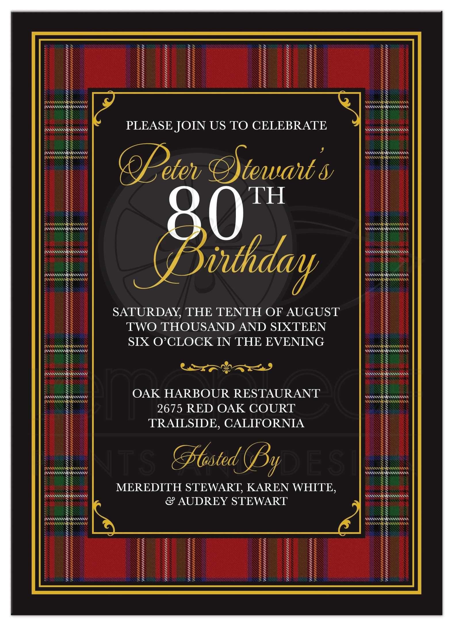 Scottish Royal Stewart Tartan 80th Birthday Invitation | 80th ...