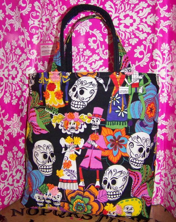 Day of the dead  Sugar skull  Tote  Cotton  Flannel by handmadeink, $25.00