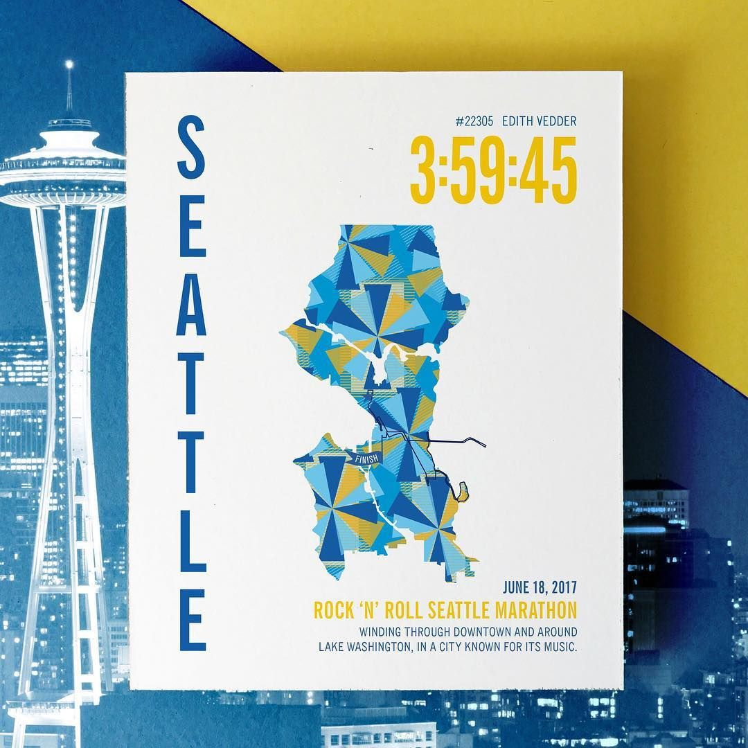 RNR Seattle Marathoner Map   Gifts for Runners   Gifts for ...