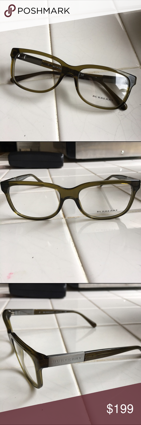 Authentic Burberry eyeglass frames NWT | Metal accents, Green colors ...