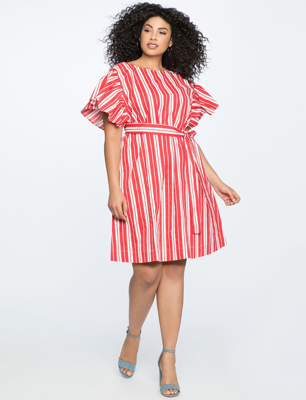 Printed Flutter Sleeve Belted Dress Women's Plus Size