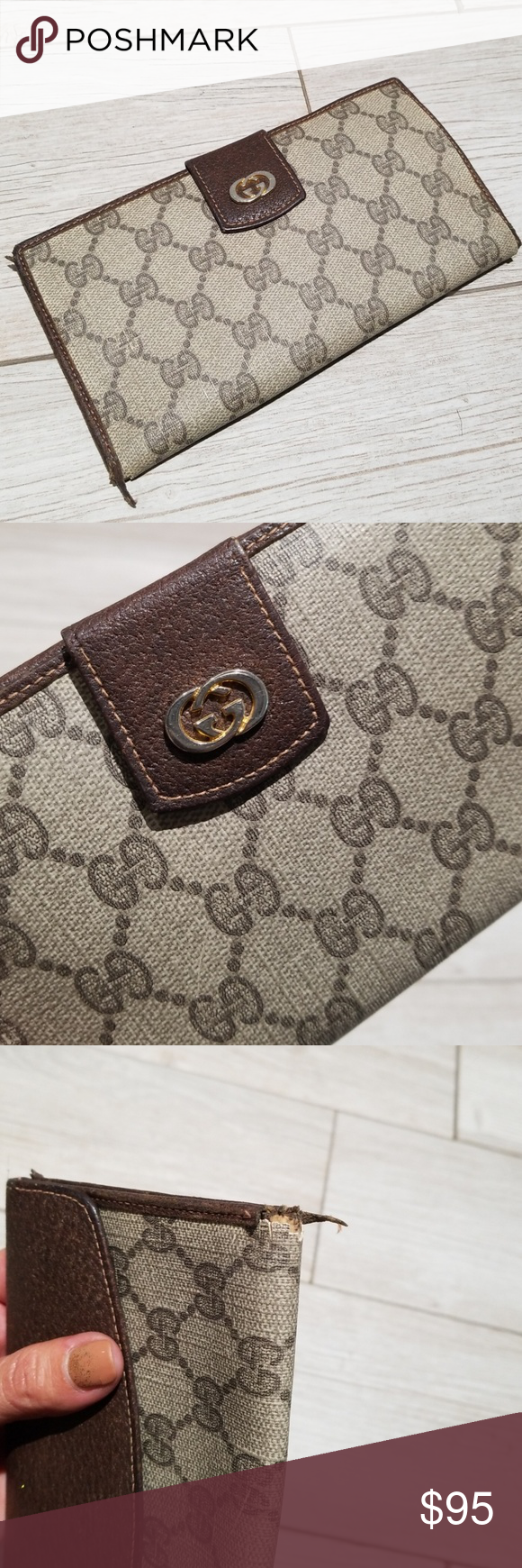 f95f218e6bb Vintage GUCCI wallet brown with GG monogram logo Cute and simple Authentic  GUCCI wallet With serial number inside Inside looks never used but the  outside ...