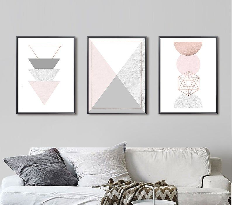 Geometric Wall Art Set Of 3 Prints Blush Pink Marble Rose Etsy Abstract Decor