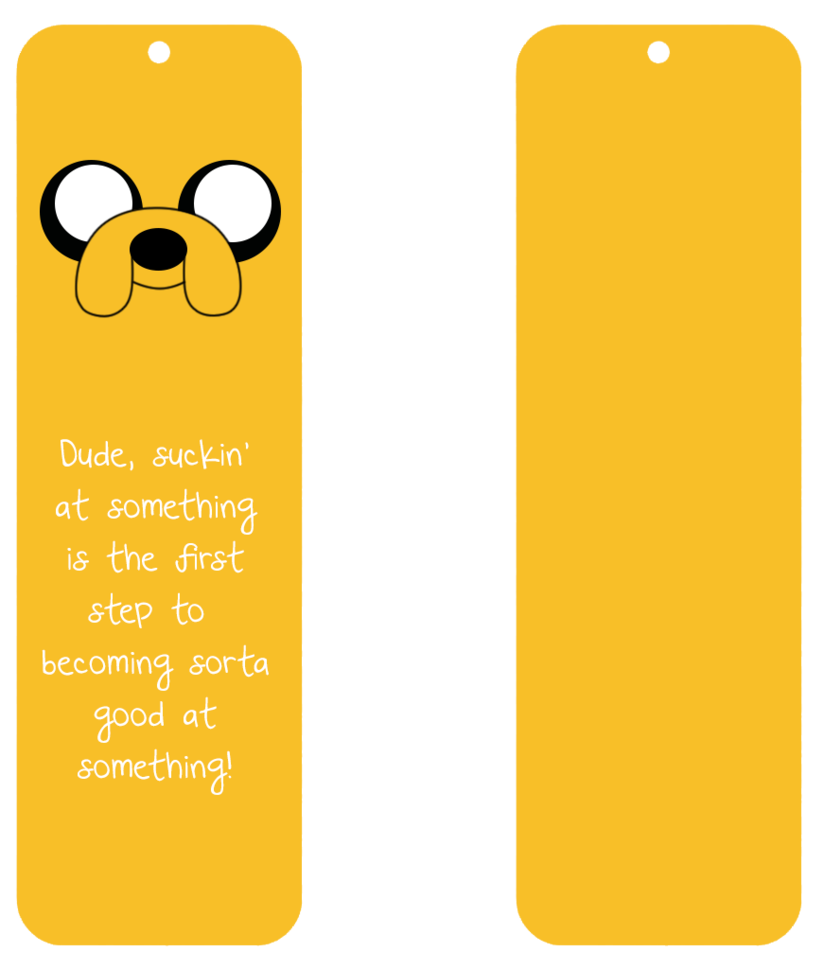 laminated bookmarks for party bags adventure time jake the dog