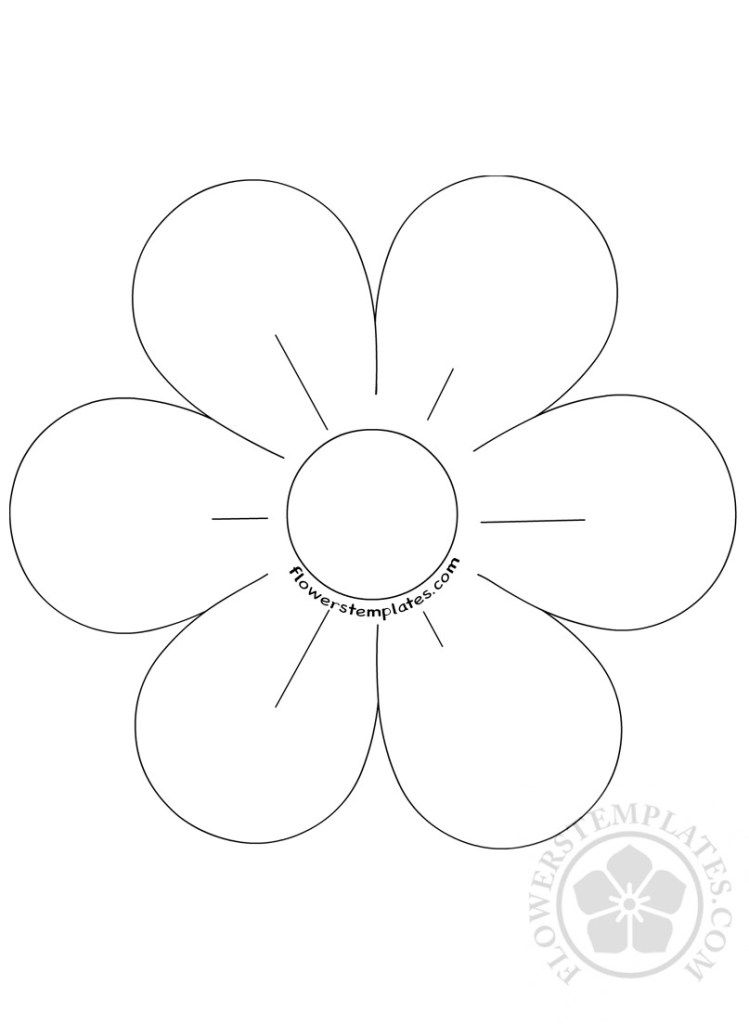 6 Petal Flower Template Coloring Page Flower Template Coloring