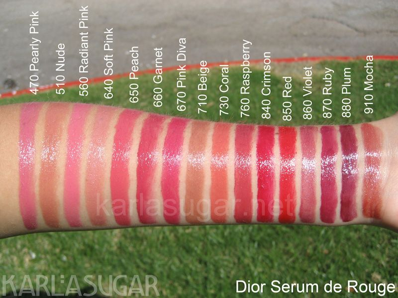 Dior, Serum de Rouge, swatches, 470 Pearly Pink, 510 Nude, 560 ...