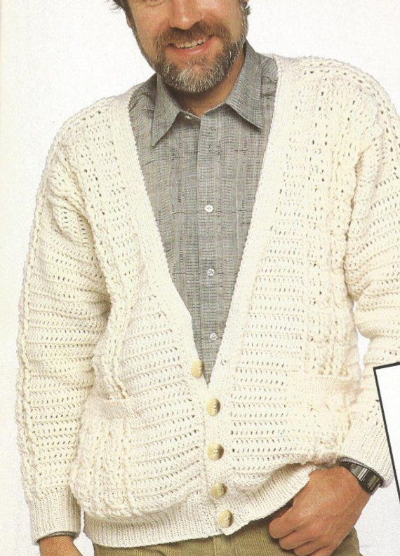 22e6261c4 Crochet Mens Aran Cardigan Pdf OhhhMama  sweater v-neck buttoned front with  pockets vintage style