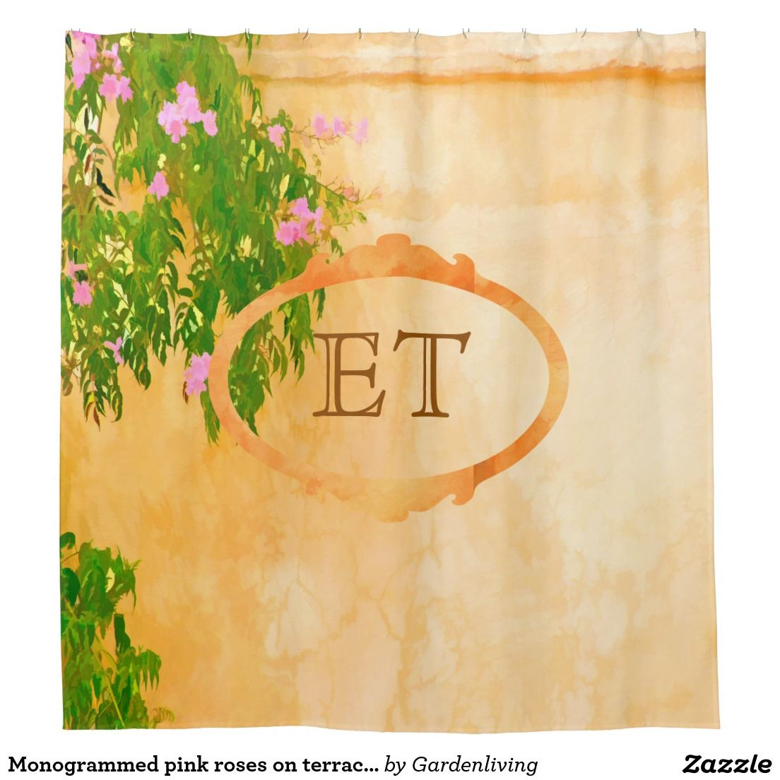 Monogrammed pink roses on terracotta colored wall shower curtain ...