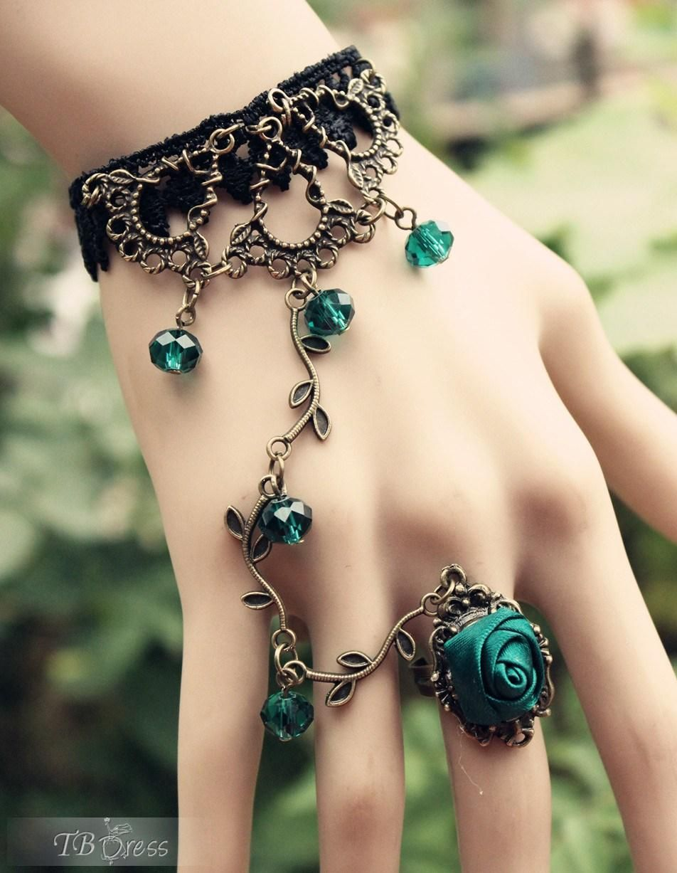 Bohemian retro blue rose vines womenus ring bracelet jewelry