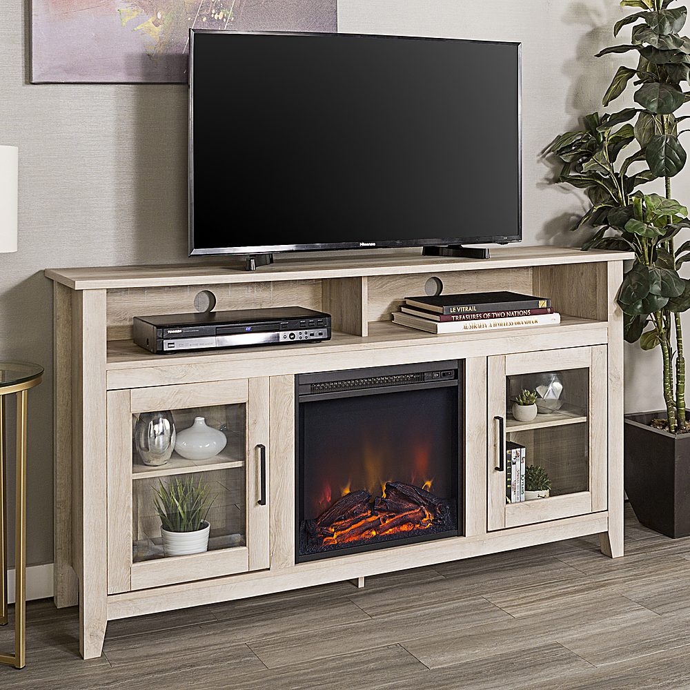 Walker Edison Tall Fireplace Cabinet Tv Stand For Most Flat Panel