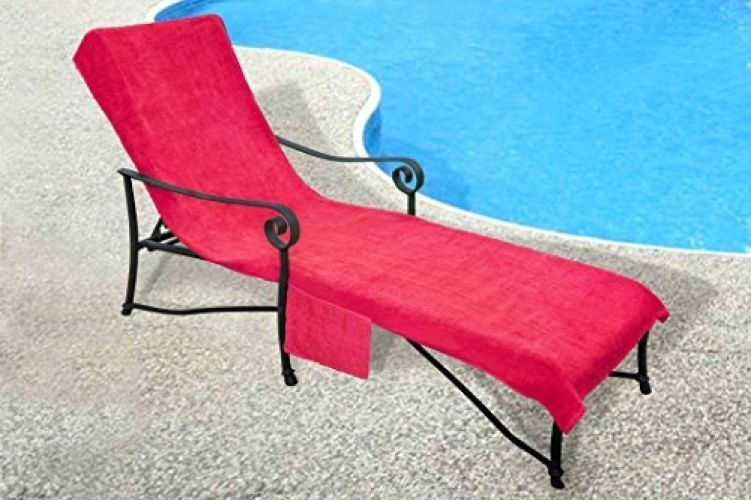 Lounge Chair Towel Chaise Cover With Pocket 100 Percent
