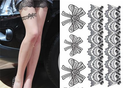 Lace Tattoo Designs On Thigh