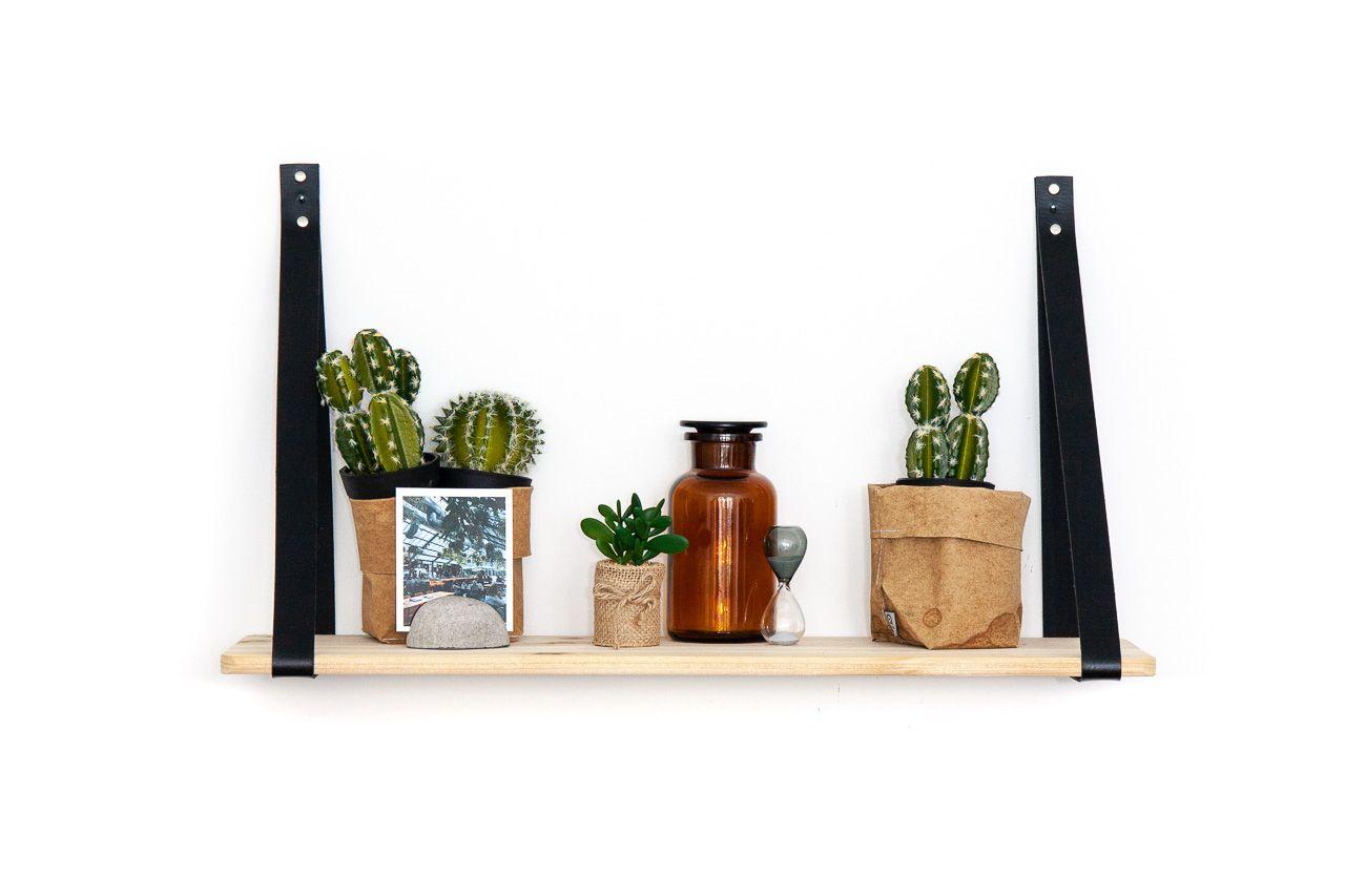 Wandablage 70 Cm Holz Und Kunstlederriemen Shelves Wall