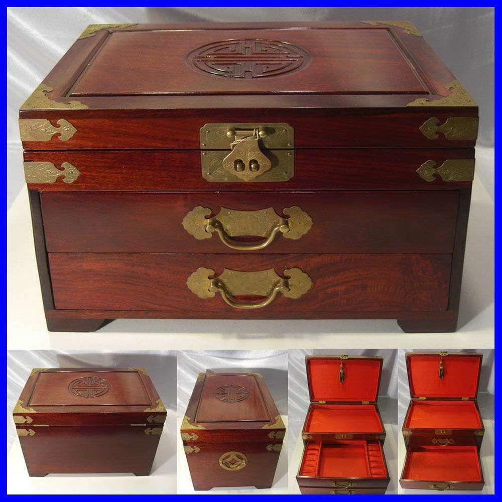 Chinese Wooden Jewelry Box Red Silk Inner W Lock Ebay