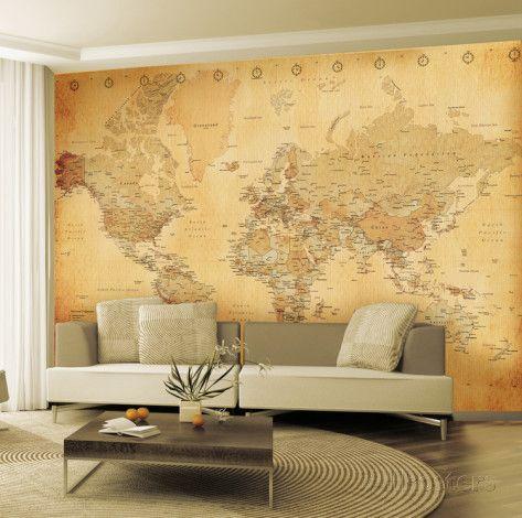 carte du monde ancienne poster mural g ant wallpaper. Black Bedroom Furniture Sets. Home Design Ideas