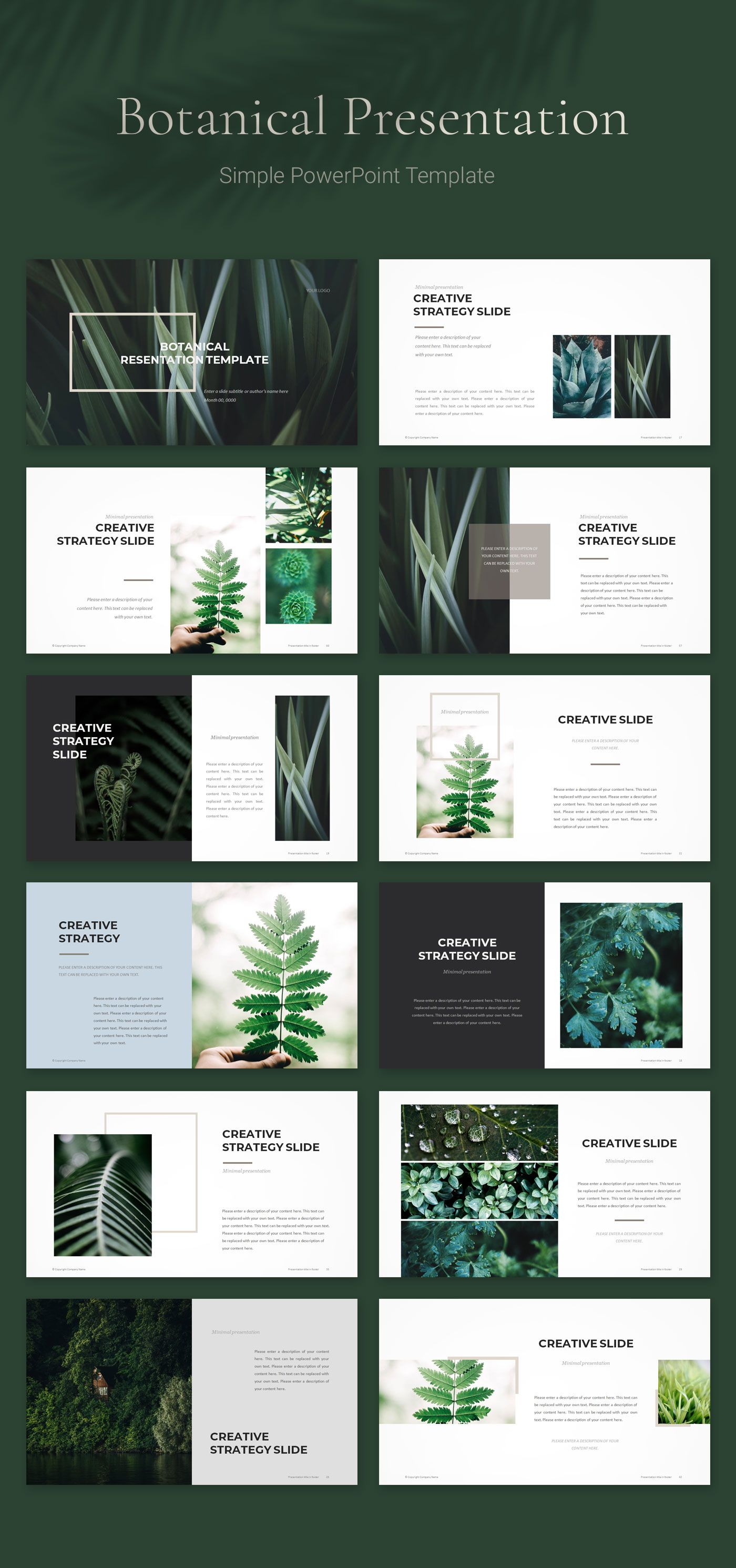 Botanical PowerPoint Template Powerpoint design