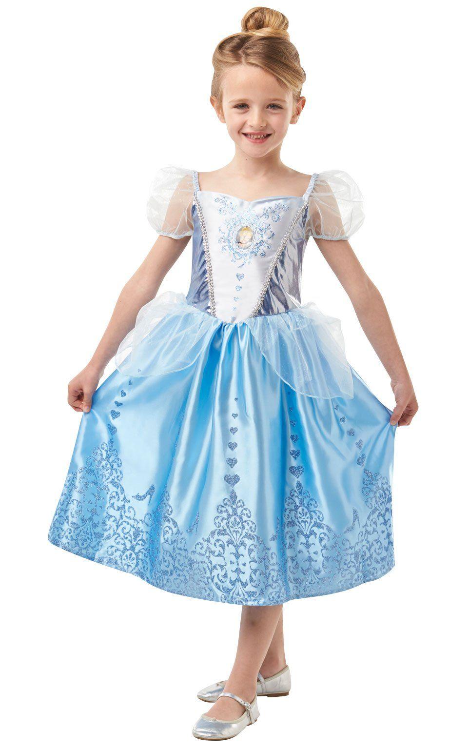 Girls Gem Cinderella Costume Disney Princess Child Fancy Dress Outfit