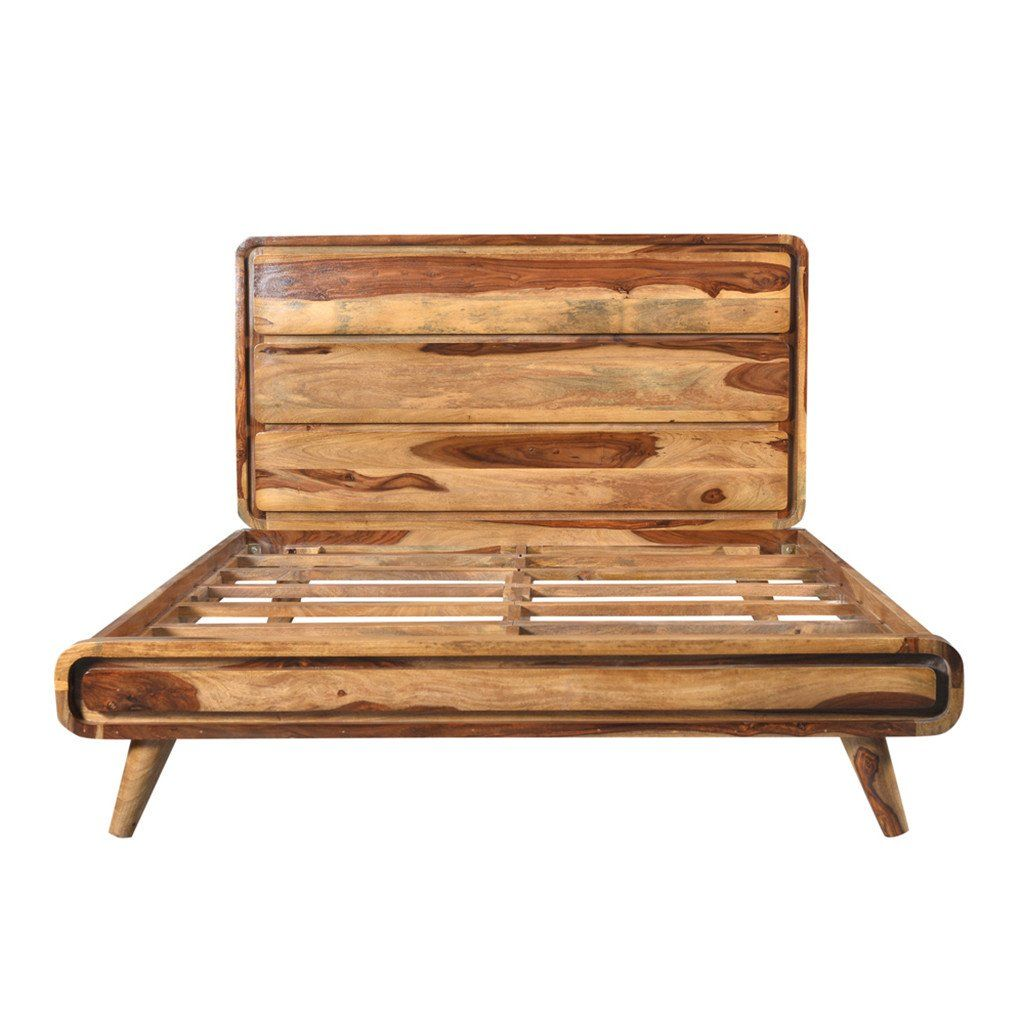 Natural Solid Wood Bed Frame With Head Board Queen Size Meuble Wazo Solid Wood Bed Frame Wood Bed Frame Rustic Bedding