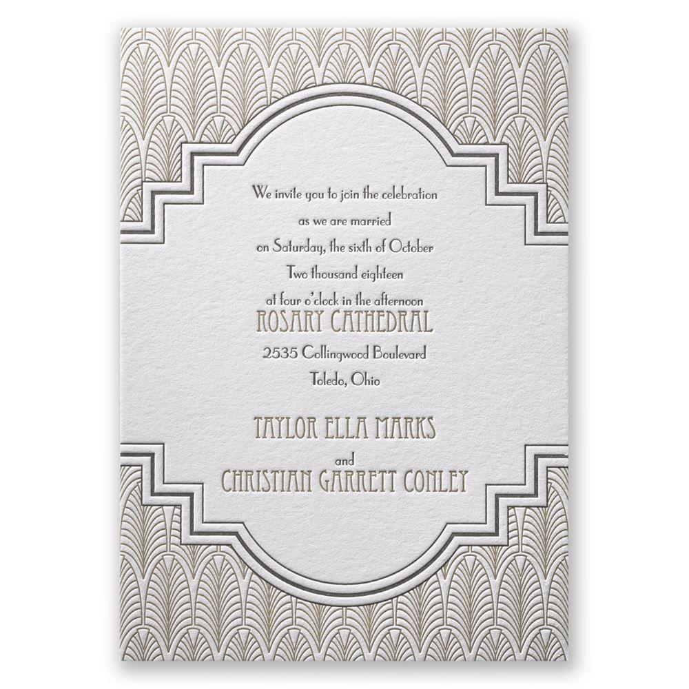 Art Deco Frame - Letterpress Invitation | Letterpresses, Letterpress ...