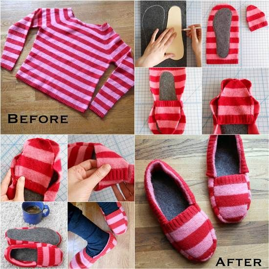 How-to-DIY-Upcycle-Old-Sweater-into-Cozy-Slippers | Lembranças ...