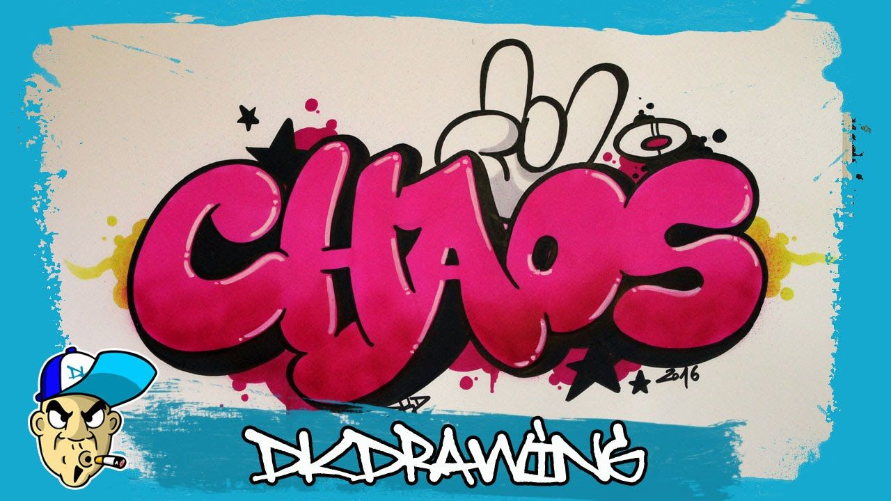 Graffiti Tutorial - How to draw chaos graffiti bubble style letters ...