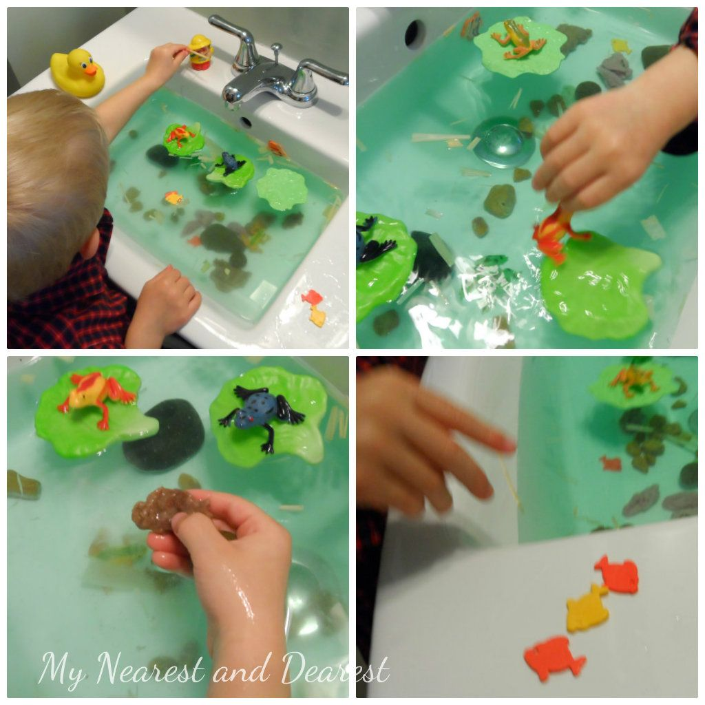 Frog pond sensory small world liking the use of the fake for Small frog pond ideas