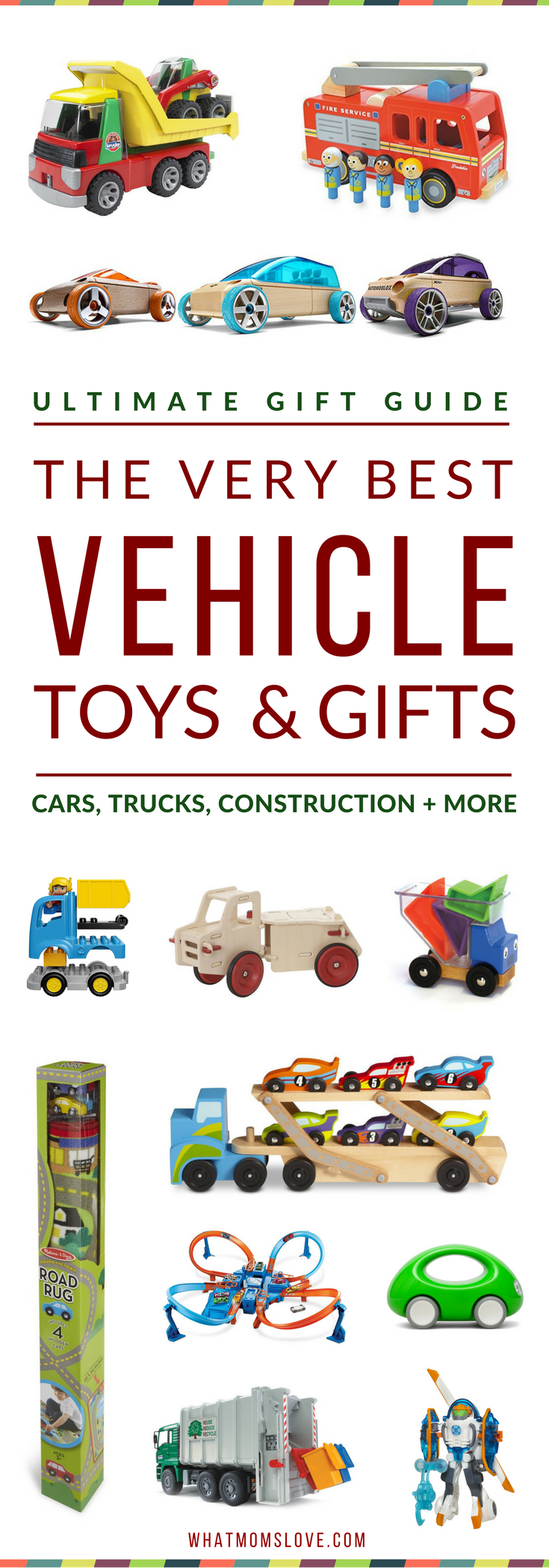 Gift Ideas For Vehicle Lovers | Best Toys For Car, Truck, Construction, Machines and Things That Go For Kids | Best Gifts For Boys | All recommendations have been kid-tested, and include detailed descriptions with age range and price | visit whatmomslove.com for all our popular kid's gift guides!