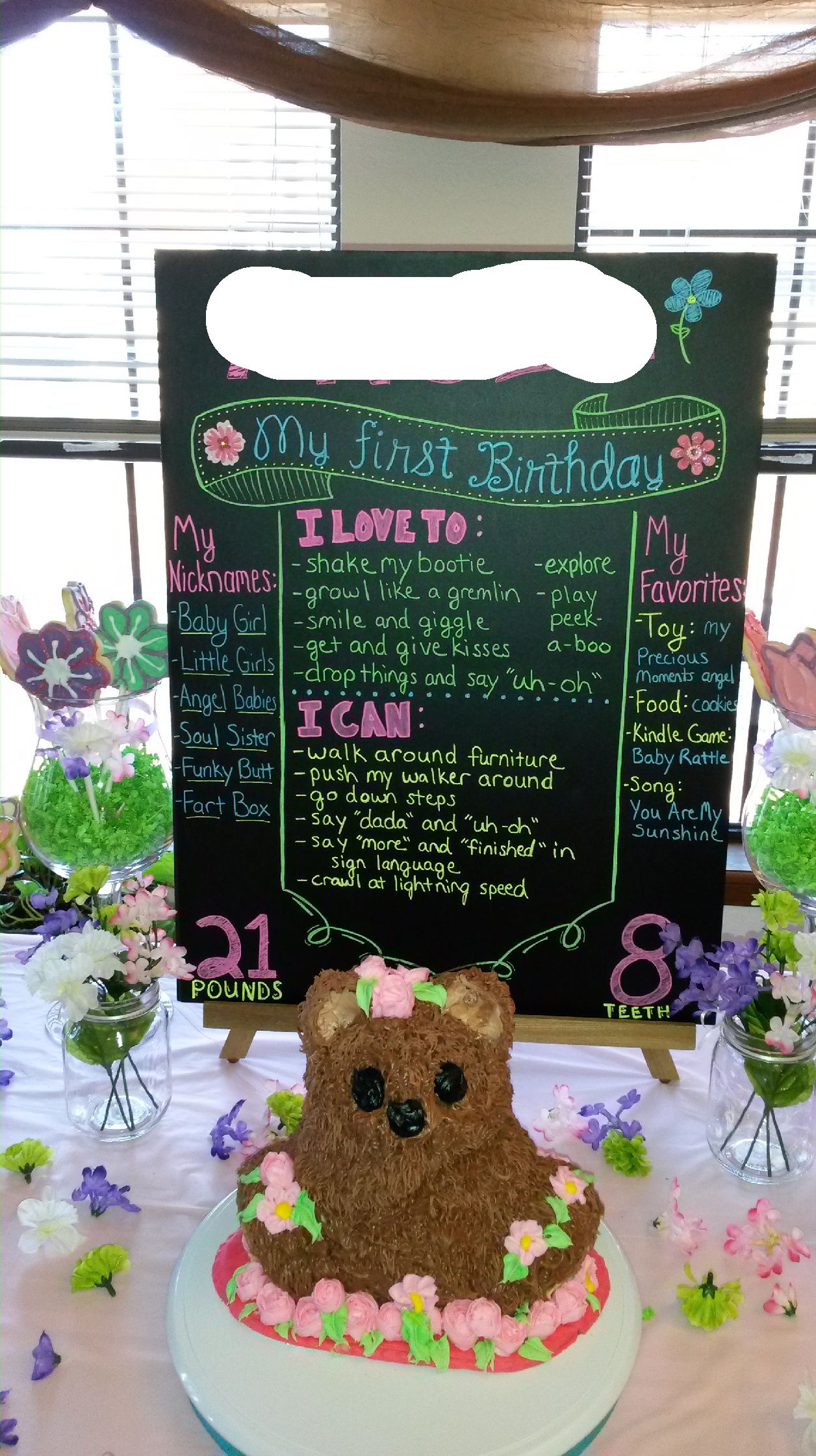 1st Birthday Party Ideas First Information Poster Sign And Game Idea Flower