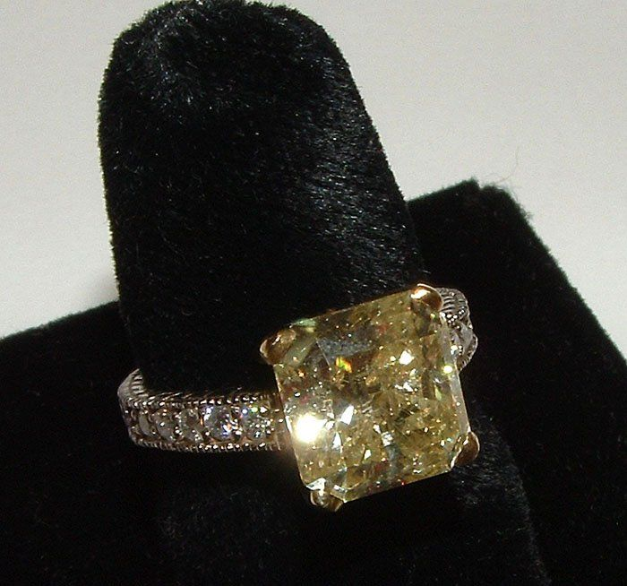 Two Tone Gold Carat Yellow Canary Diamond Wedding Ring Antique