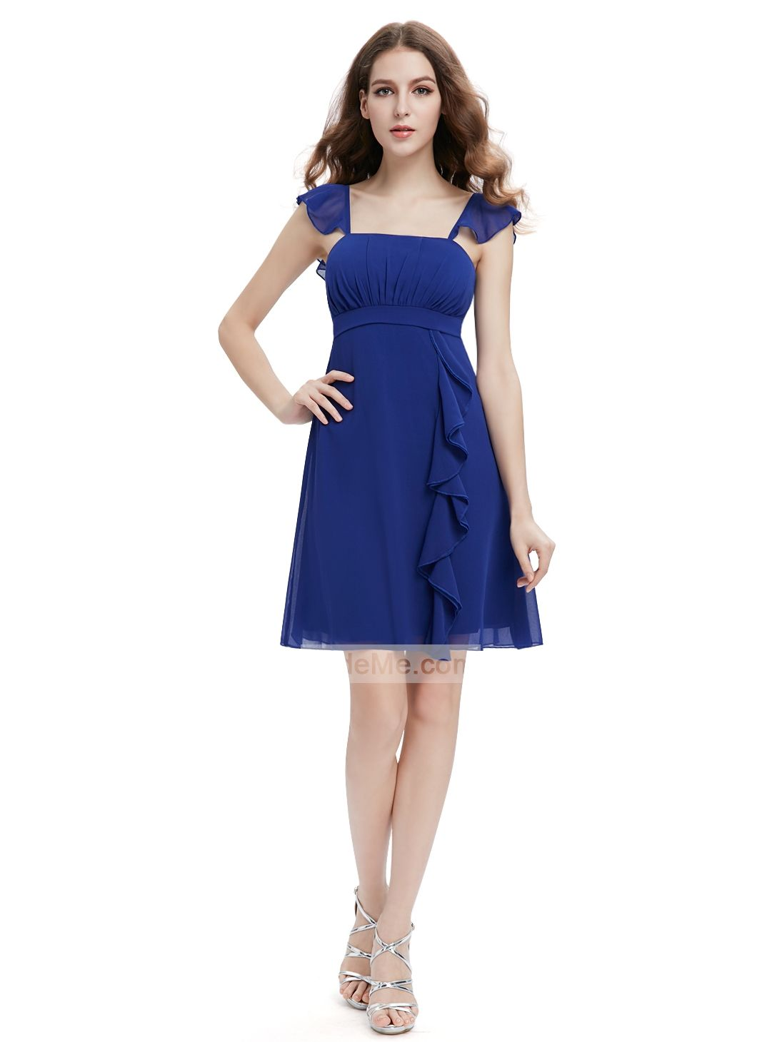 Blue chiffon frill straps a line pretty short prom dress prom