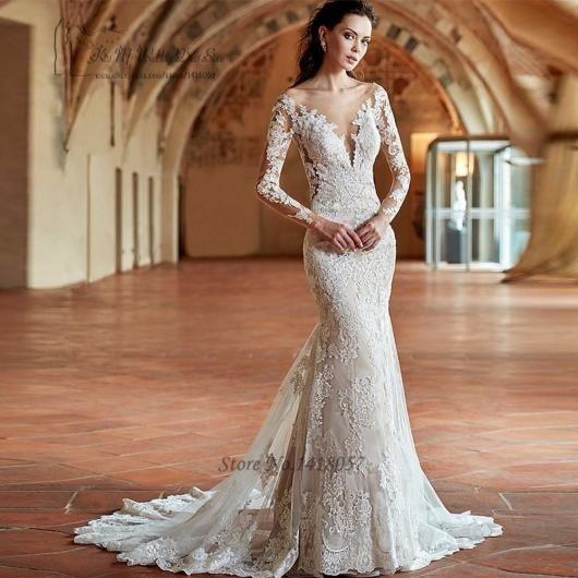 147aaeb2d Vestido de Noiva Sereia com manga longa de renda | Casamento ...