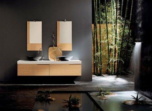 Badezimmer wanddeko ~ Dunkle badezimmer design ideen bambus deko badezimmer