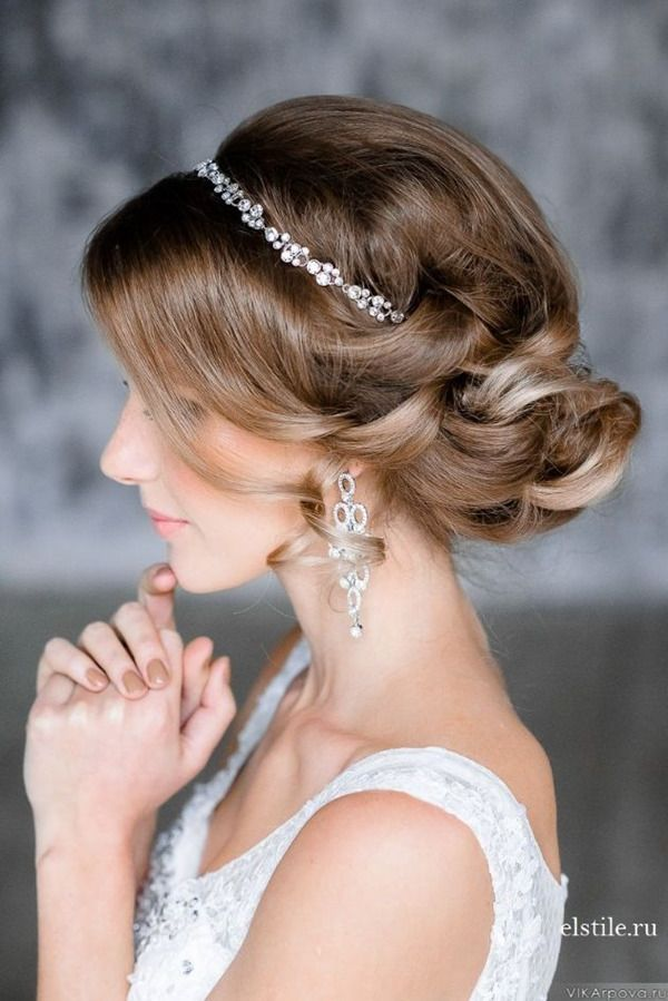 elegant updo wedding hairstyles with crystal bridal headpieces