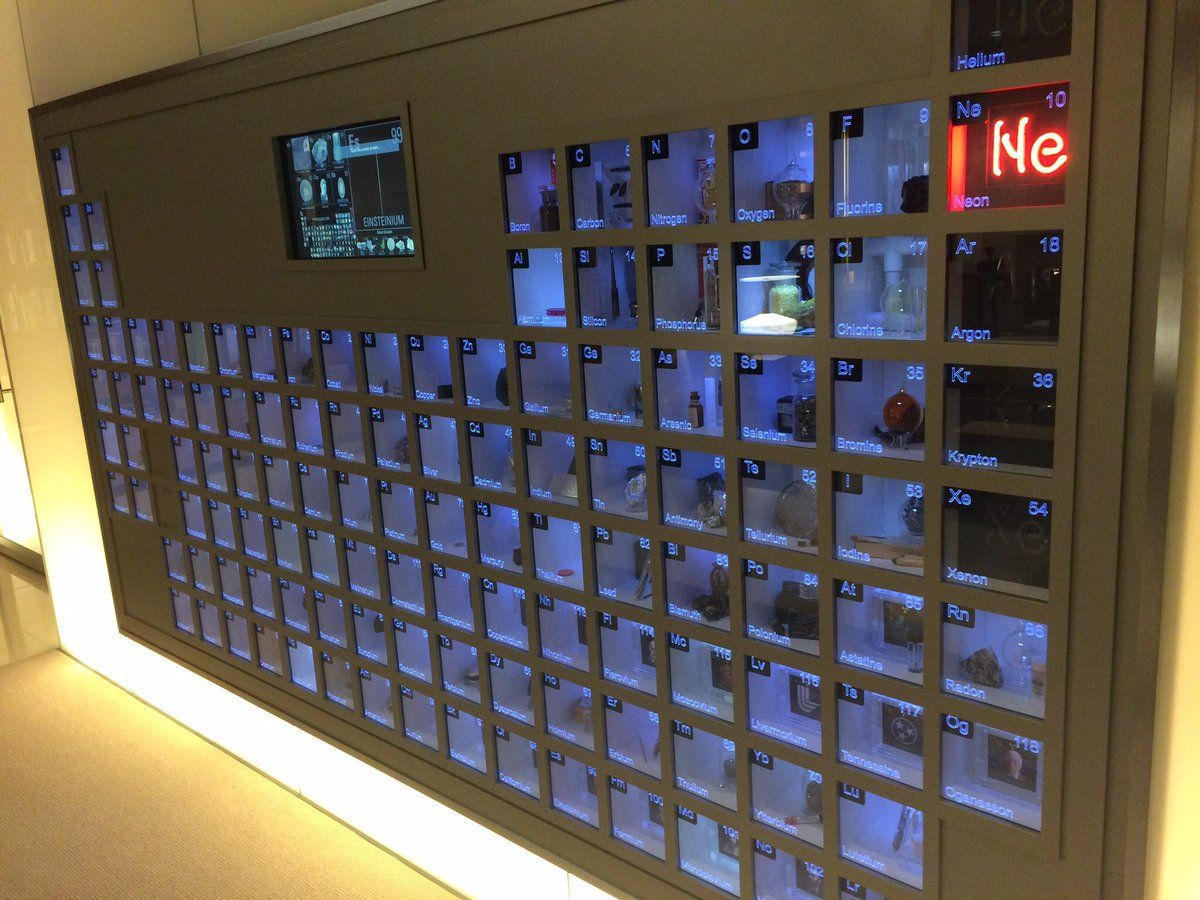 Bill gatess office has a giant wall mounted periodic table with bill gatess office has a giant wall mounted periodic table with samples or representations of urtaz