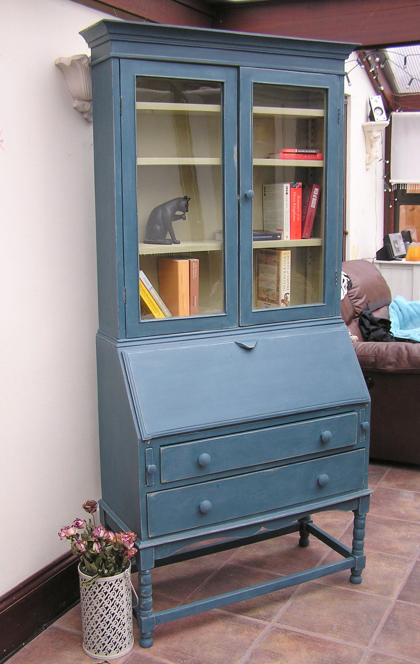 vintage tall writing bureau hand painted shabby chic style in annie