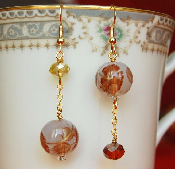 Mismatched Earrings  Brown Gold Dangle by CoolJewelCreations