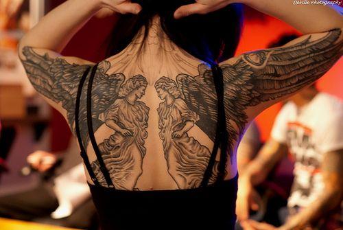 sophia thomalla angel tattoo on back women tattoo pinterest. Black Bedroom Furniture Sets. Home Design Ideas