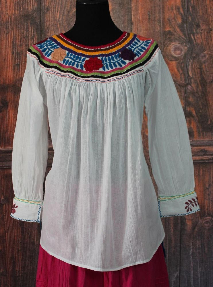 Floral & Multi Color Hand Embroidered Blouse Maya Chiapas Mexico ...
