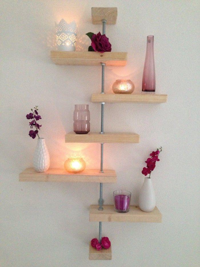 Steigerhout muurdecoratie | Muur woonkamer | Pinterest | Rustic ...