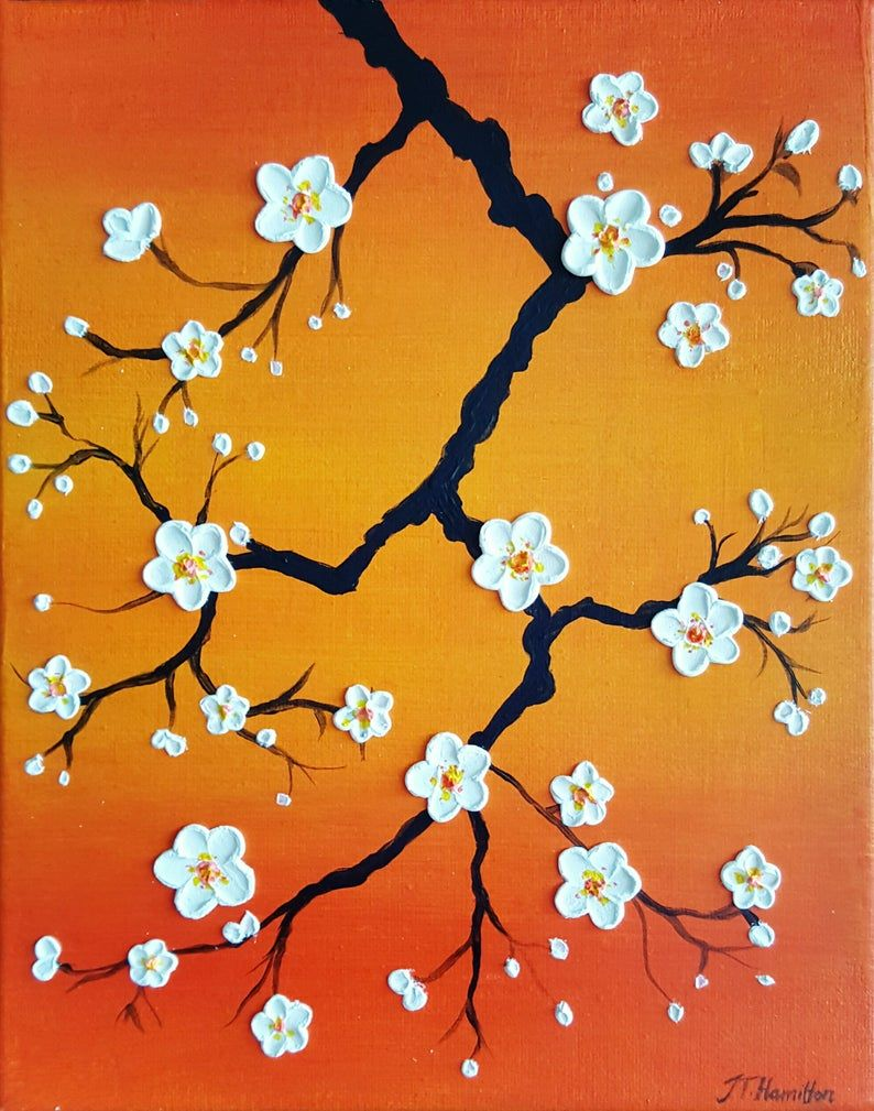 Cherry Blossoms Over An Orange Sky Made To Order Original Etsy In 2020 Small Canvas Art Cherry Blossom Painting Acrylic Simple Canvas Paintings