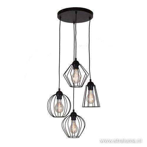 Draad hanglamp zwart hoogte verschillend - www.straluma.nl ...