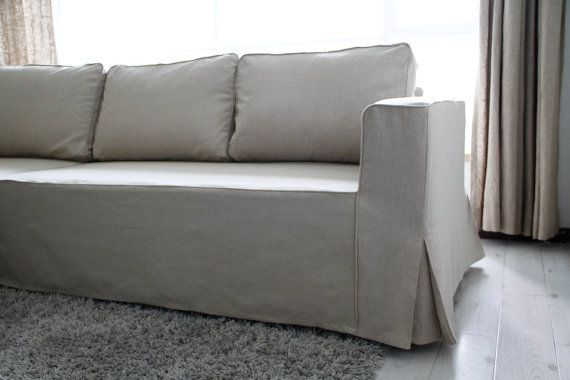 Custom IKEA Manstad Sofa Bed Cover (Loose Fit Style) In Liege Eggshell  Linen Fabric