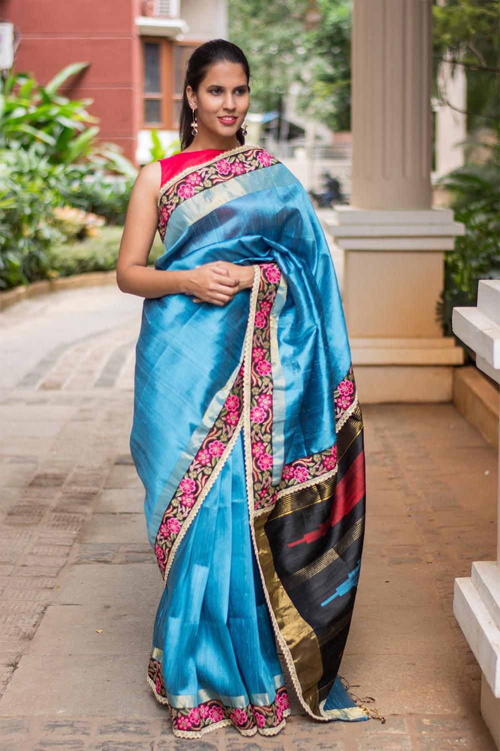191af1cd204e34 Copper sulphate blue raw silk saree with rose threadwork border #saree  #roses #houseofblouse