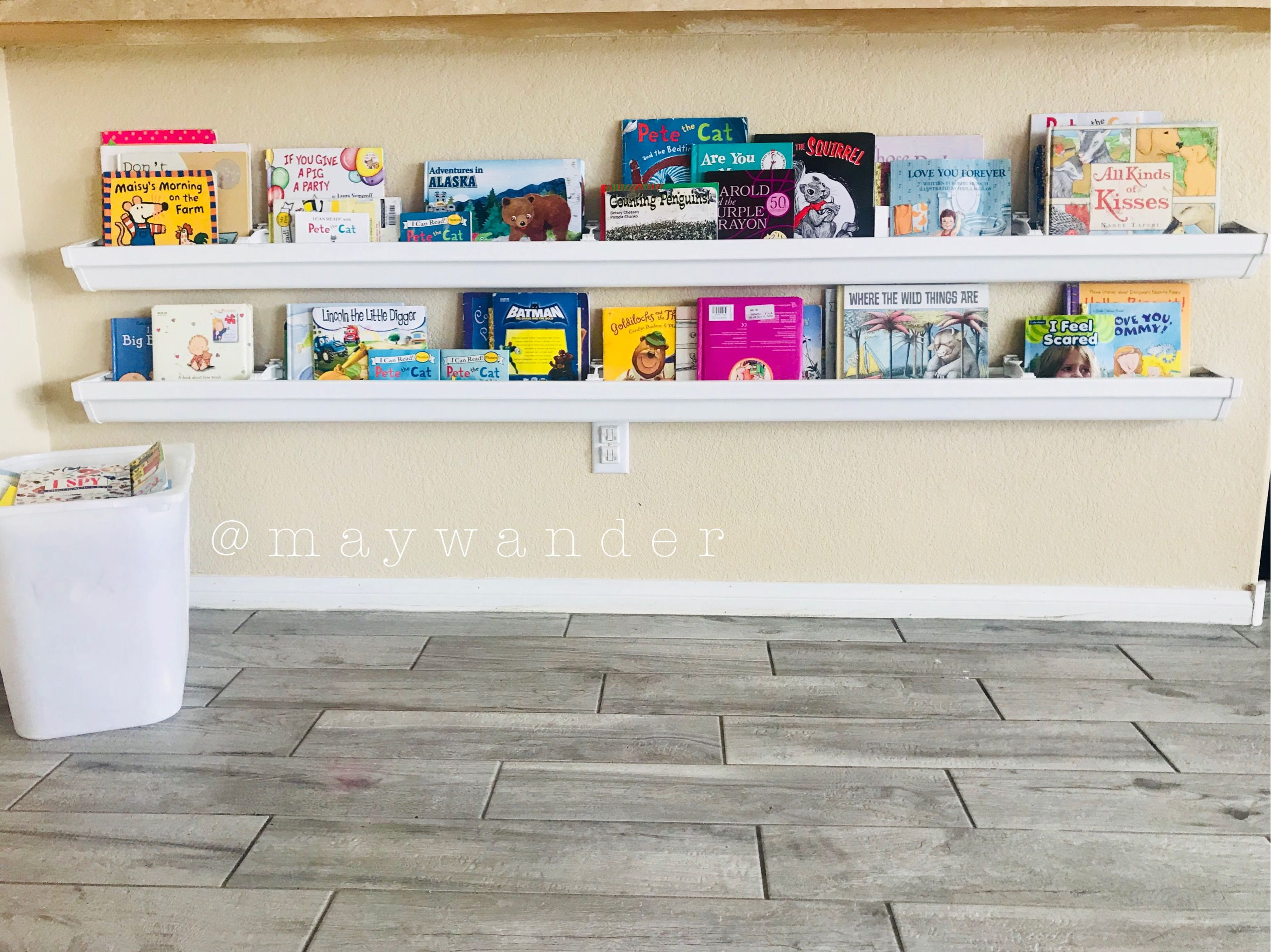 Book shelves for kids my so used rain gutters to make our