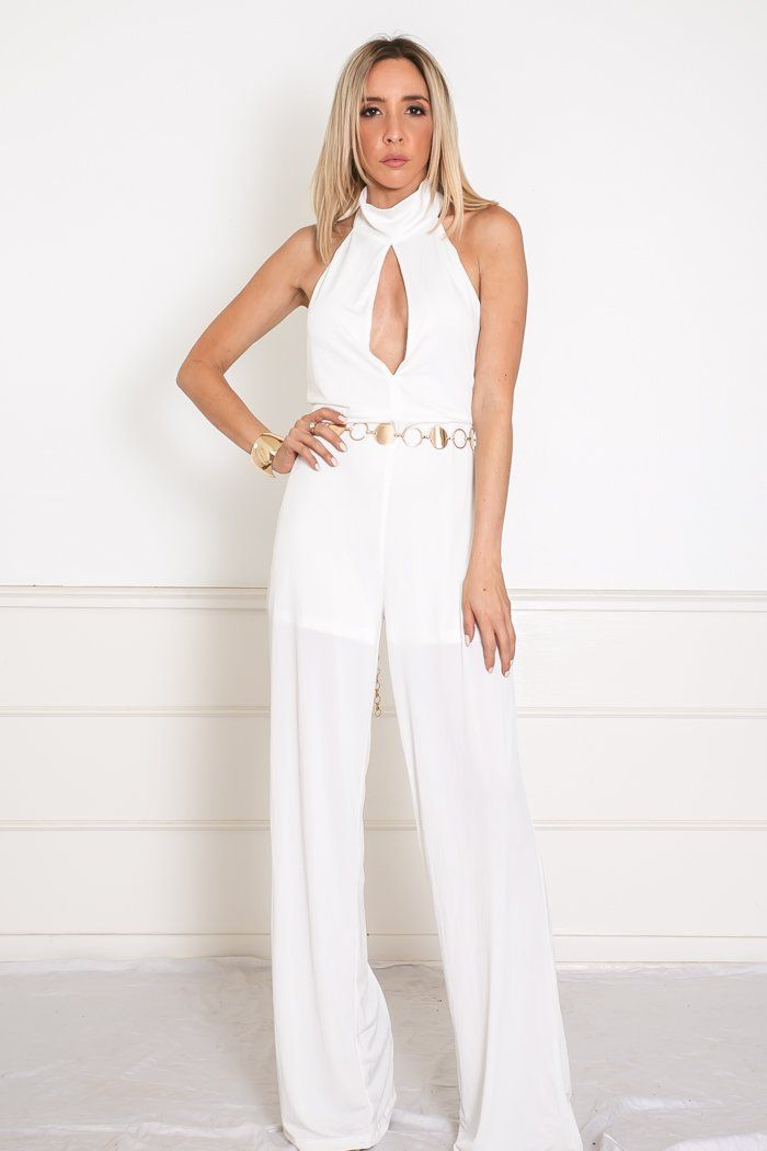 385804d3b74 Open Back Jumpsuit with Keyhole Detail - White – Haute   Rebellious ...