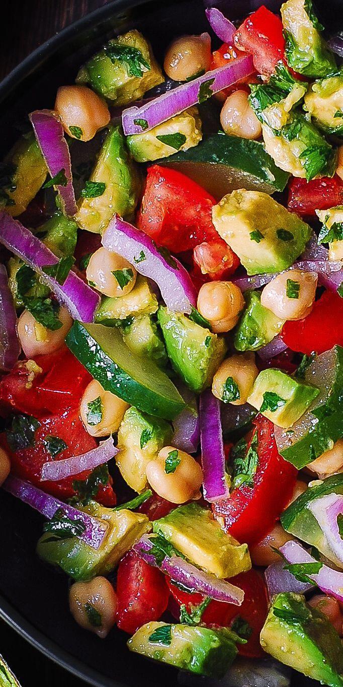 Chickpea Salad with Avocado, Tomato, Cucumber