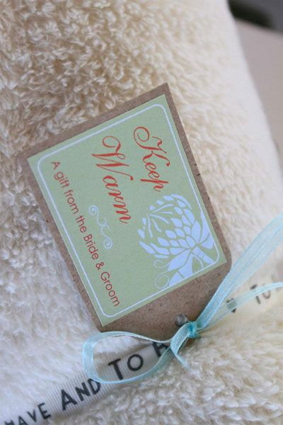 """""""Keep warm"""" tag from the Protea stationery suite - Ribbon Wedding Stationery, Johannesburg."""